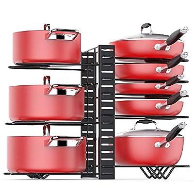 Pan Organizer Rack for Cabinet, Pot Rack with 3 DIY Methods, Adjustable Pots and Pans Organizer under Cabinet with 8 Tiers, Large & Small Pot Organizer Rack for Cabinet Kitchen [Upgrade Version]