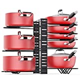 Pan Organizer Rack for Cabinet, Pot Rack with 3 DIY Methods, Adjustable Pots and Pans Organizer under Cabinet with 8 Tiers, Large & Small Pot Organizer Rack for Cabinet Kitchen [Upgrade Version]