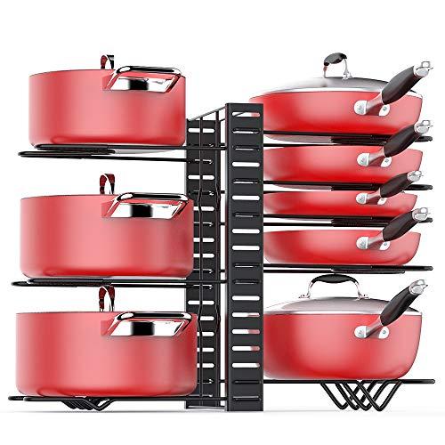 Pan Organizer Rack for Cabinet Pot Rack with 3 DIY Methods Adjustable Pots and Pans Organizer under Cabinet with 8 Tiers Large Small Pot Organizer Rack for Cabinet Kitchen Cookware Organizer