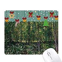 木の森の花の風景のイラスト ゲーム用スライドゴムのマウスパッドクリスマス