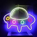 Figura de nave espacial de Alien, luz de neón LED, 16 x 11 pulgadas, luz nocturna azul y verde, cartel de neón para dormitorio, niños, regalo, bar, fiesta, decoración de pared