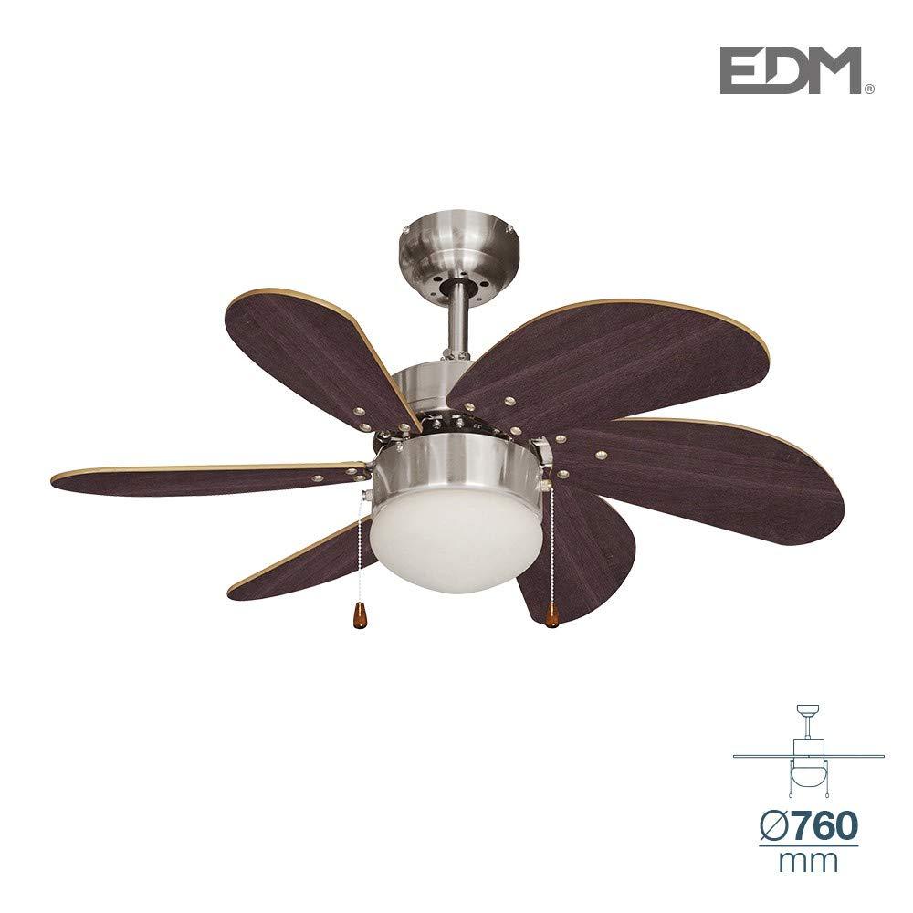 Ventilador de techo ARAL 50W 76cm wengué 1xE14 60W EDM 33984 ...