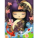 Kit de pintura de diamantes 5D,Chica de kimono de flor de pescado de dibujos...
