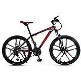 PGKCCNT Bicicleta de Montaña Outroad, Freno de Doble Disco de 26 Pulgadas, Bicicleta de Montaña Rígida de 21—30 Velocidades, Asiento Ajustable para Bicicleta, Marco de Acero (Color : A, Size : 24)