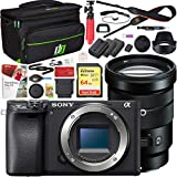Sony ILCE-6400 a6400 Mirrorless APS-C Interchangeable-Lens Camera Body Bundle with E PZ 18-105mm f/4 G OSS Power Zoom Lens, 64GB Memory Card, Paintshop Pro 2018, Camera Bag and Camera Battery