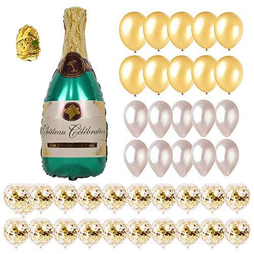 LUSHUN Champagne Bottle Balloon Kit, Champagne Bottle Balloon Mixed Balloons, Gold Confetti Balloons Bulk Set for Wedding Birthday Bachelorette Bridal Shower Party Decorations 42PCS