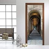 GKOO Türaufkleber,3D Stereo Arch Galerie Foto Wandbild Tapete Wohnzimmer Arbeitsraum Erweiterung Tür Aufkleber Foto Wandbild Papel De Parede 3 D, 95 cm X 215 cm