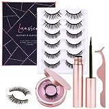 [8 Pairs] Magnetic Eyelashe with Magnetic Eyeliner Kit, LANVIER Reusable 3D False Eyelashes Lashes Extension with 2 Tubes of Eyeliner - Black