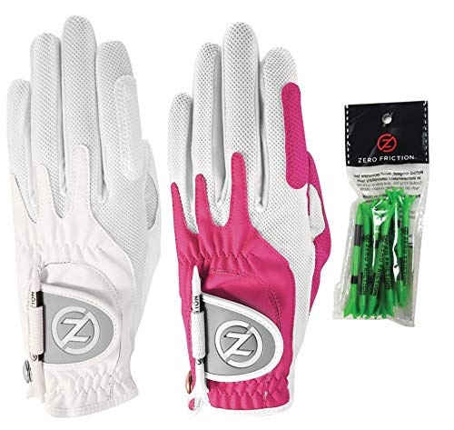 Zero Friction Ladies Compression-Fit Synthetic Golf Glove (2 Pack with Free Pack of tees), Universal Fit One...