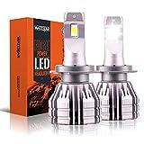 Wattstar S20 H7 Bombillas LED para faros delanteros, extremadamente brillantes, 12000 lúmenes, impermeable, todo en uno, kit de conversión de faros LED 55 W 6500 K, xenón blanco,