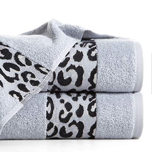 Eurofirany handdoek katoen zacht 70x140 cm luipaardpatroon glitter metalen naad borduurset 3-pack Oeko-Tex, zilver, 70x140cm, 3 stuks