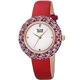 Burgi Swarovski Colored Crystal Watch - A Genuine Diamond Marker on a Slim Leather Strap Elegant Women's Wristwatch - Mothers Day Gift -BUR227RD (Red)