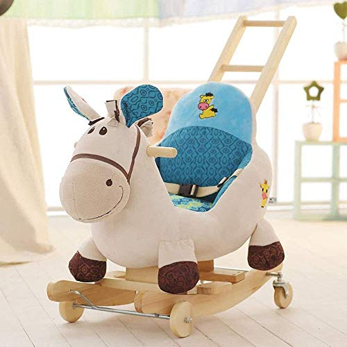 XWL Rockers Ride Baby Rocking Horse For 1-3 Year Old, Rocking Toy For Toddler, Kid Rocker, White Wooden Rocking Chair, Child Rocking Animal, Outdoor Animal Rocker, Girl/Boy Ride On Toy,H (Color : #2)