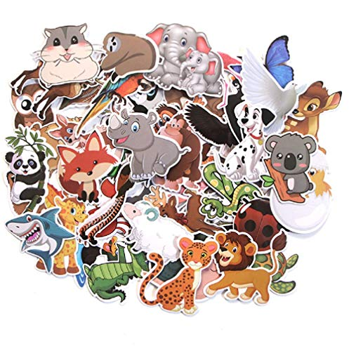 MISTREE Aufkleber Kinder Tiere, Tier Sticker, Aufkleber Für Kinder, Wasserfest, Lustige Tiermuster, Lernende Tiere Im Spiel, Aufkleber Kinder Set Mit Aufbewahrungsbox 50 Stück