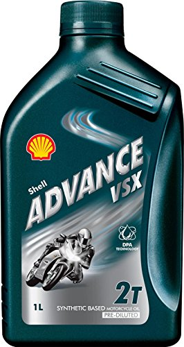Shell 070.0000003940 olie Advance Vsx2, smeermiddel voor scooter, 1 l, natuur