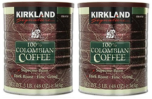 Kirkland Signature Signature Swa 100% Colombian Coffee, Supremo Bean Dark Roast-Fine Grind, 3 Pound (2 Cans)