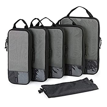 Packing Cubes BAGSMART 6 Set Packing Organizers for Travel Expandable Luggage Organizer for Carry on Luggage Compression and Lightweight Suitcase Organizers for Woman & Man Black