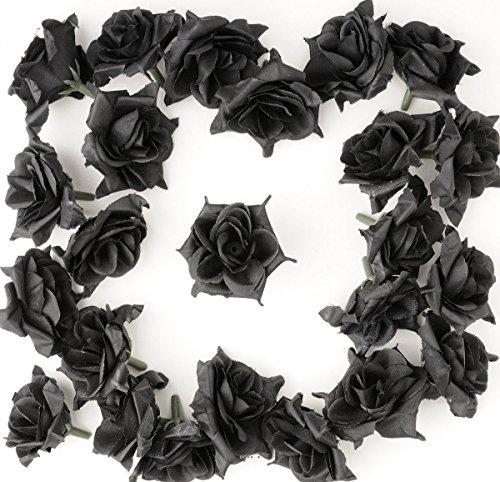 Artif-deco - Tetes de rose artificielle x 12 noir d 5 cm pour boule de rose