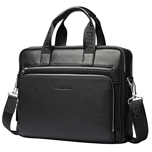BISON DENIM Herren Klassische Leder Aktenkoffer Laptop Schulter Messenger Bag Business Tote