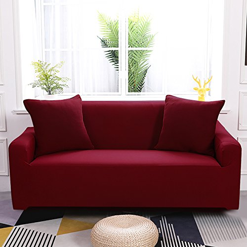 Boshen Stretch Seat Chair Covers Couch Slipcover Sofa Loveseat Cover 9 Colors/4 for 1 2 3 4 Four People Sofa + 1 Pillowcase (Loveseat, Wine Red)
