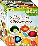 Eierfarben HEITMANN 5 Eierfarben + 5 Färbebecher - 5 flüssige Kaltfarben - für EIN buntes Osternest …