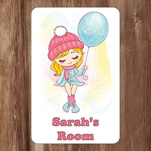 schattig ontwerp - meisje met ballon deur teken gepersonaliseerd met elke naam