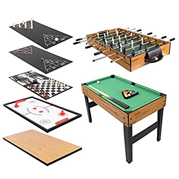 PEXMOR 10 in 1 Multifunctional Game Table with Foosball Billiards Hockey Shuffleboard Bowling and More 48 Inch