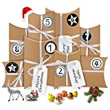 Bluelves Calendario de Adviento, 24 Calendario Adviento Fieltro, con Adhesivos Digitales de Adviento, Cajas de Regalo Navidad, para DIY Bolsa de Regalo Navidad, Rellenar Calendario de Adviento(Retro)