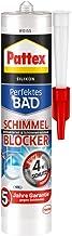 Pattex Perfecte badkamer schimmel blocker siliconen, sanitair silicone met 4-voudige bescherming tegen schimmel, afdichtmi...