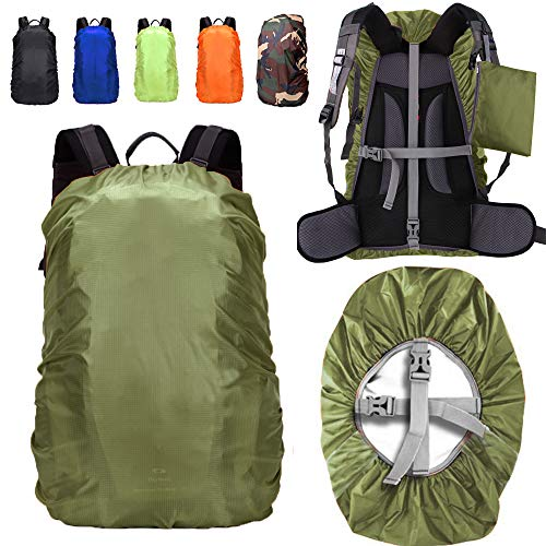 ZM-SPORTS 15-90L Upgraded Waterproof Backpack Rain Cover,with Vertical Adjustable Fixed Strap Avoid to Falling,Gift with Portable Storage Pack (Olive Green, L(for 35-50L Backpack)