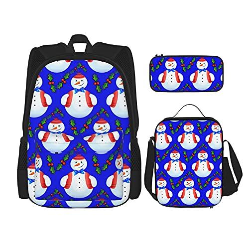 Kerst Sneeuwpop Blauw Beste Gift Voor Studenten 3 In 1 Set Waterbestendig Rugzakken/Grote Capaciteit Potlood Cases…