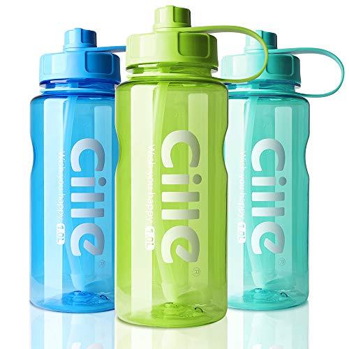 AOHAN Trinkflasche 1L Wasserflasche Sportflasche für Fitness, Wandern, Camping, Outdoor-Sportarten Flaschen aus BPA frei, Auslaufsicher, Nachhaltig (1000ml, B-Grün)