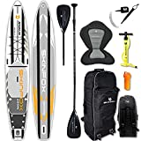 SKINFOX Marlin Grand Touring Carbon Set (420 x 76 x 15) 4-TECH L-Core SUP - Tabla de surf de remo - Color: blanco - Tamaño: tabla, bolsa, bomba, remo de carbono, correa, asiento de kayak