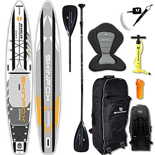 SKINFOX Marlin Grand Touring Carbon Set (420 x 76 x 15) 4-TECH L-Core SUP - Tabla de surf de remo - Color: blanco - Tamaño: tabla, bolsa, bomba, remo de carbono, correa, asiento de kayak