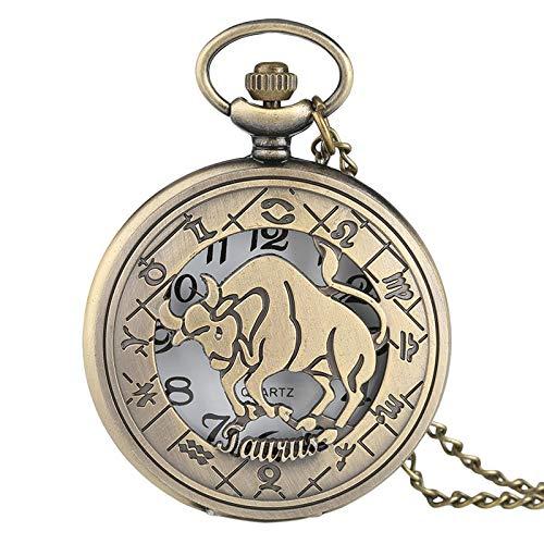 LLXXYY Taschenuhr Halskette,Vintage Bronze Sternbild Taurus Thema Serie Quarz Taschenuhr Anhänger Mit Halskette Sternzeichen Schmuck Unisex Geburtstag