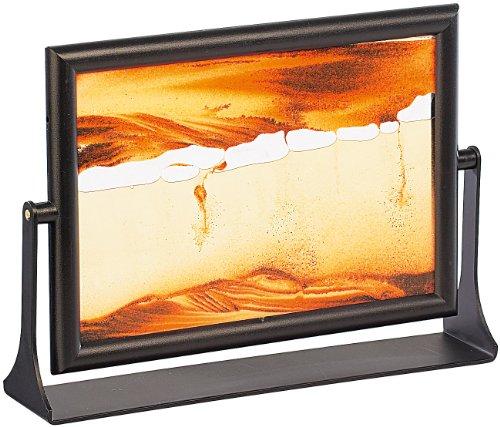 infactory Sand Kippbild: Sandbild Eldorado mit schwenkbarer Fassung aus Metall, 13 x 18 cm (Harmonische Sandbilder)