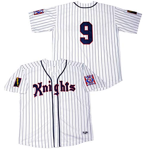 Kooy Roy Hobbs New York Knights The Natural Movie Baseball Jersey Jerseys Men Summer Christmas (White_Stripes, Large)