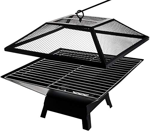 LIVIVO Outdoor Garden Fire Pit Firepit Brazier Burner Square Stove with Protective Mesh Spark Guard Cover Outdoor Heater With BBQ Grill (34cm)