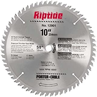 PORTER-CABLE 12901 Riptide 10-Inch 60 Tooth TCG Thin Kerf Crosscutting Miter Saw Blade with 5/8-Inch Arbor