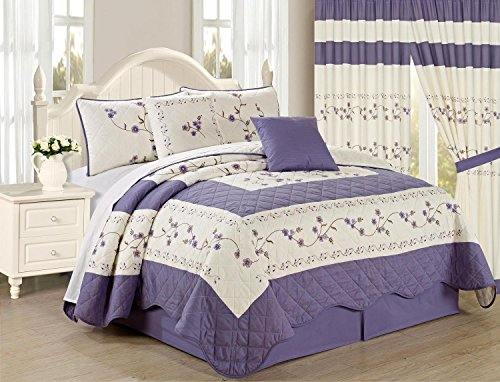 All American Collection New 6pc Embroided Floral Bedspread/Quilt Set (King Size, Purple)