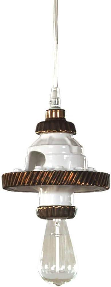 Karman mek, lampada a sospensione ,in ceramica bianco e bronzo SE107-1R