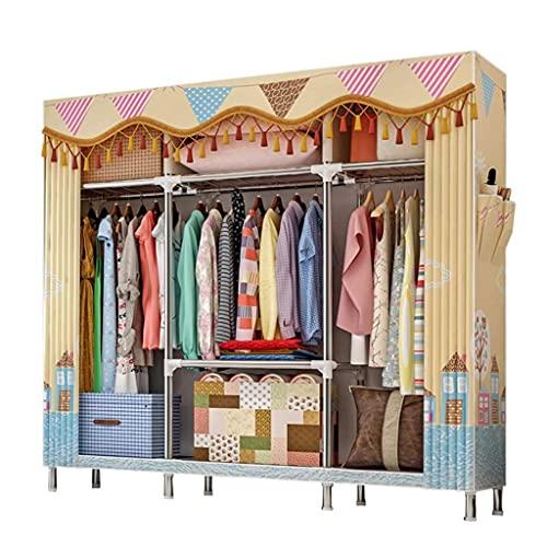 LICHUAN Armario extra grande de almacenamiento para armario, organizador portátil, estante de tela, armario de pie con barra para colgar y 2 bolsillos laterales (color: C)