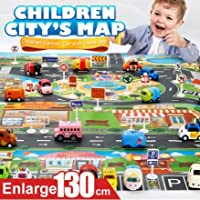 MY SMILE プレイマット ミニカーマット ミニカーシート キッズマット トミカ 道路 線路 プラレール 子供部屋 子どもおもちゃ 知育玩具 子どもの誕生日プレゼント 女の子 男の子 ロードマップ 地図マップ
