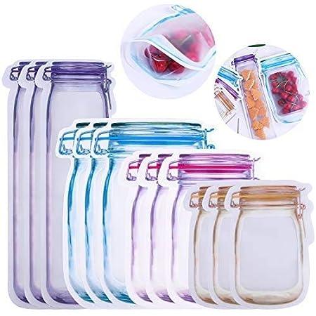 BESTZY Mason Jar Modello Alimentare Borsa per Bottiglia Mason 12pezzi Chiusura Lampo Sacchetti Riutilizzabili Alimenti Sacchetti di Stoccaggio per Sandwich al Cibo Borsa per Snack