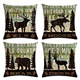 MOMIKA Vintage Background Wildlife Elk Moose Bear Deer Pine Tree Forest Throw Pillow Covers Cotton Linen Pillowcase Cushion Cover Home Office Decor Square 18' X 18' Set of 4