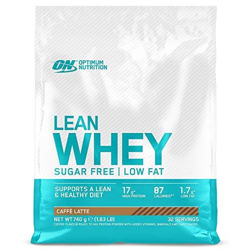 Optimum Nutrition Lean Whey - Proteínas en polvo sin azúcar con vitaminas y minerales, bajo en grasas, Café Latte, 32 porciones, 740 g
