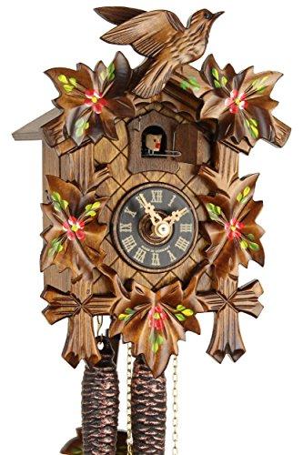 Orologio a cucù originale della Foresta Nera in vero legno, movimento meccanico con carica di 1 giorno e certificazione VDS, motivo con 5 foglie dipinte, 23 cm, 20-01-14-10