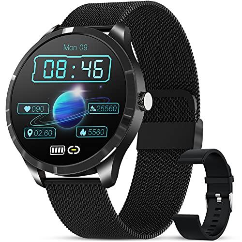 GOKOO Smartwatch Reloj Inteligente con Pulsómetro Cronómetros Calorías con música Monitor de Sueño Podómetro de Actividad Impermeable IP67 Smartwatch Hombre Reloj Deportivo para Android iOS(Negro)