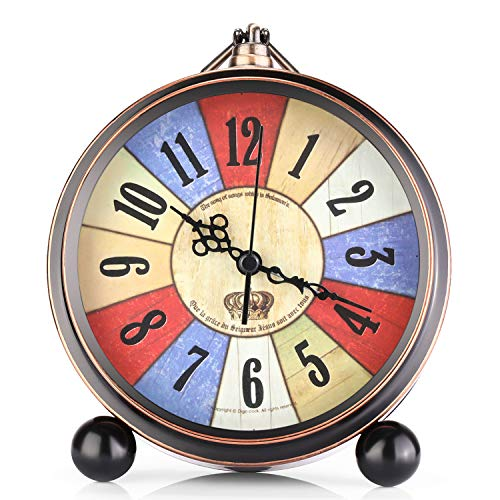 "OURISE 5.5"" Metal Antique Table Clock, Retro Vintage Non-Ticking Small Alarm Clock,Battery Operated Silent Quartz Movement Desk Gift Clock for Bedroom Living Room Indoor Decoration Kids(A04)"