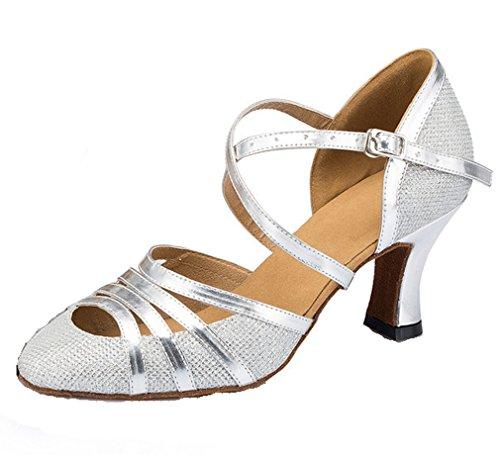 Honeystore Damen's Criss Cross Riemen Metallschnalle Tanzschuhe Silber-02 5 UK